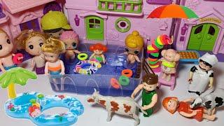 يوم في حمام السباحه!! عائلة عمر-جنه ورؤي-العاب أطفال@العاب عروسة البحر