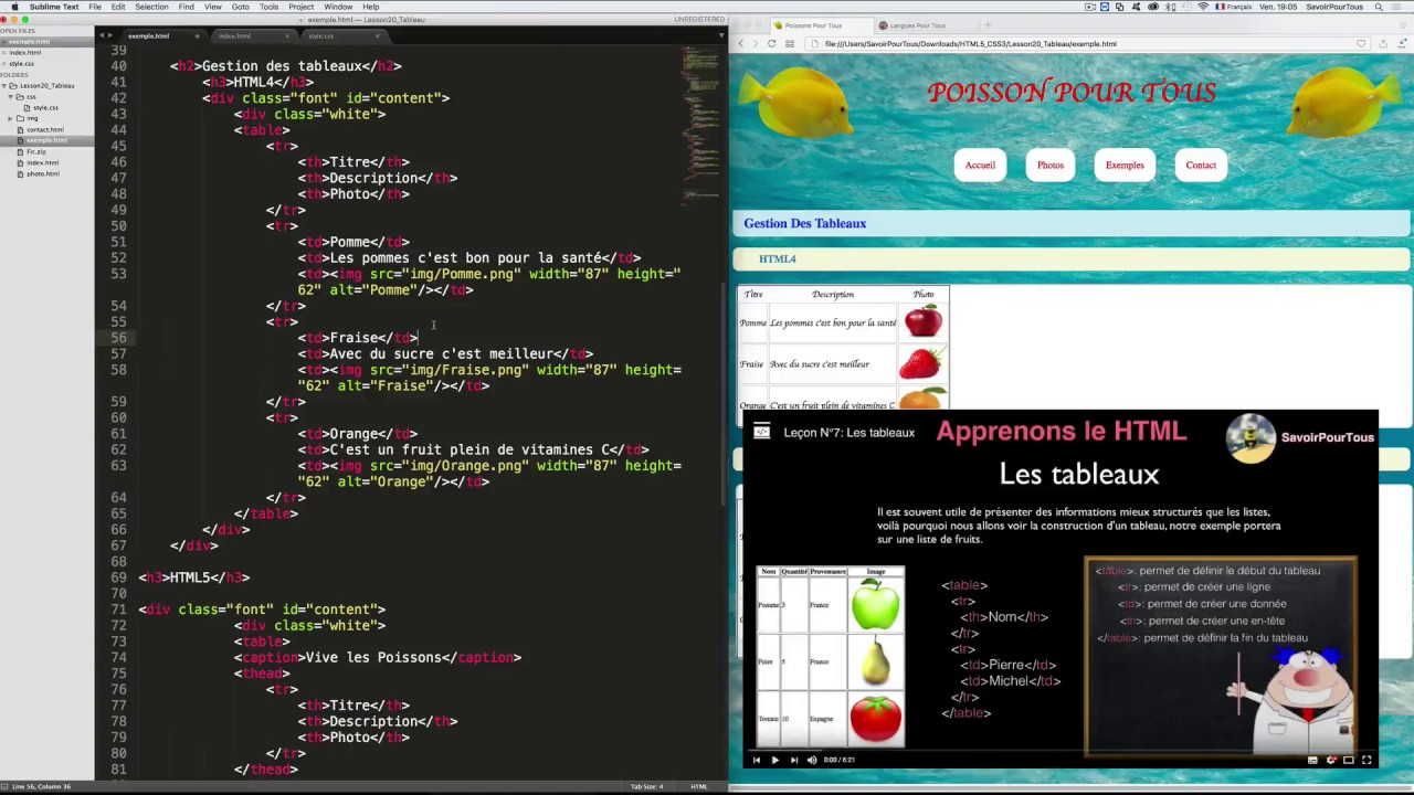 Lecon N 20 Les Tableaux Html5 Css3 Youtube
