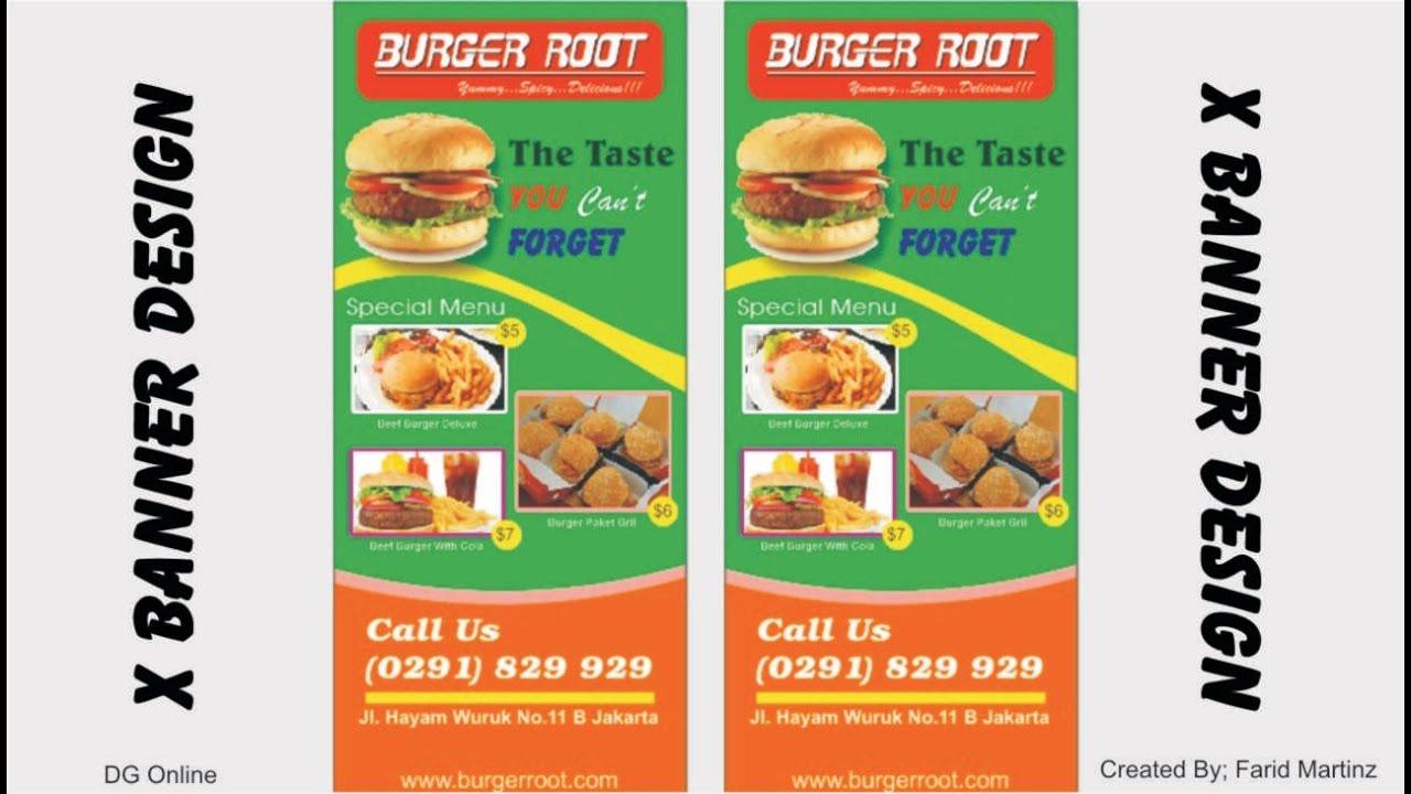 coreldraw tutorial make design x banner hamburger shop
