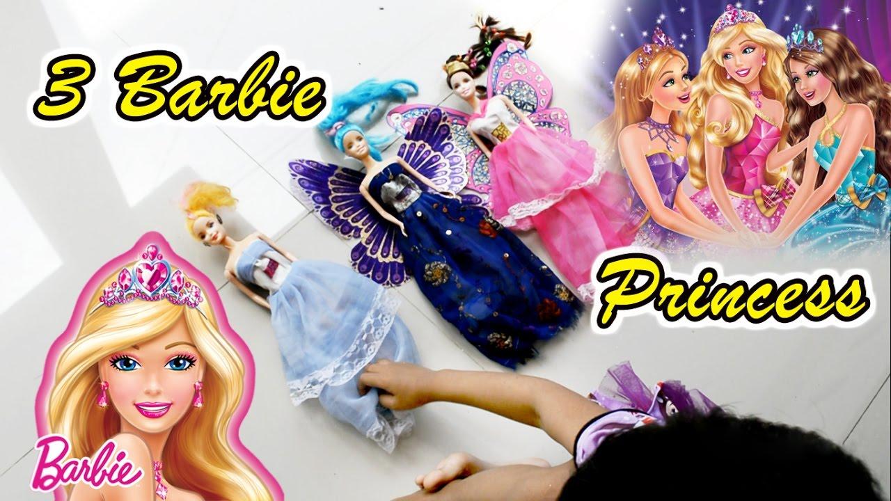Asyiknya Bermain 3 Boneka Barbie Princess - Fun Play 3 Barbie Princess -  Toys for girls 92a5c2527a