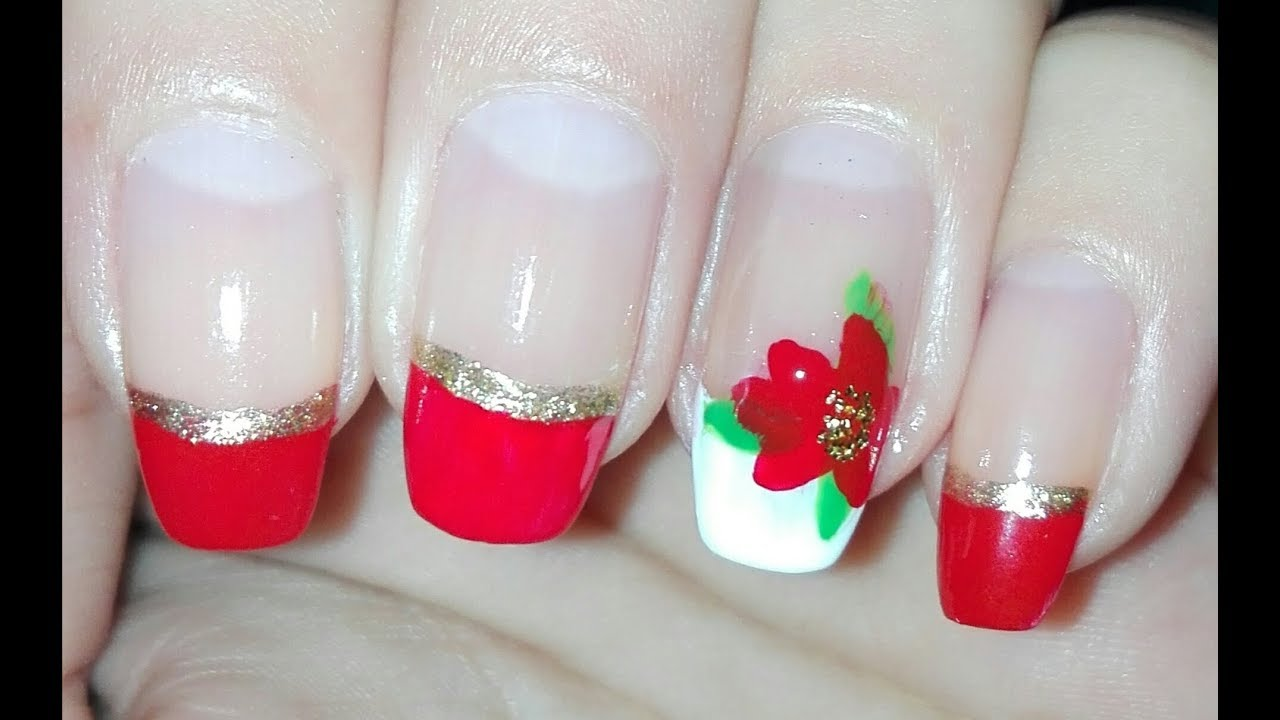 Easy DIY Poinsettia Accent Nail French Manicure : Christmas Nail Art ...