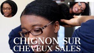 Chignon Bas Plaqué sur Cheveux Sales