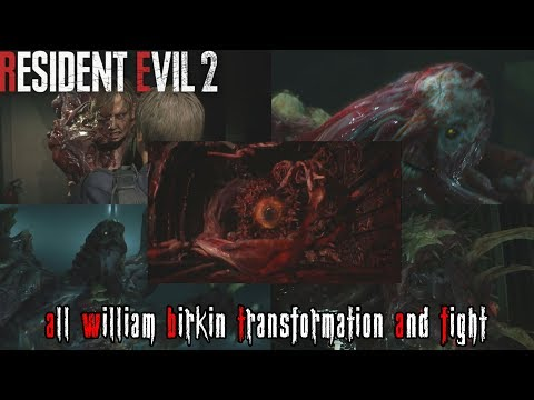 Resident Evil 2 Remake: All William Birkin Transformation Sequence & Fight from YouTube · Duration:  25 minutes 4 seconds