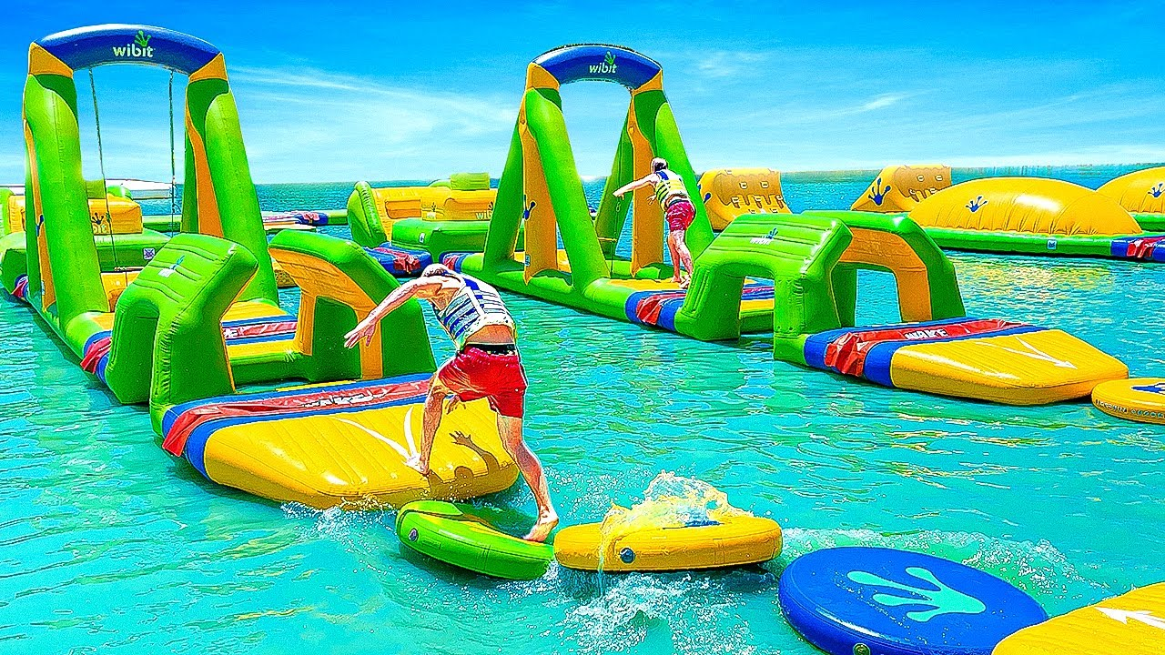First To Cross Waterpark Obstacle Course Wins! *Impossible*