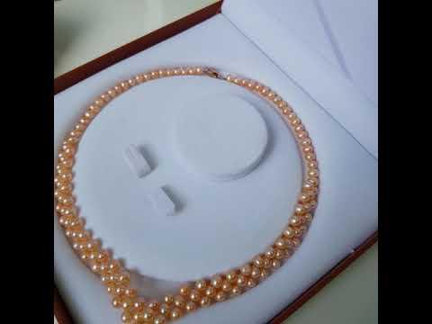 Vòng cổ Ngọc trai nước ngọt Thiên nhiên Cao cấp - Chuỗi tráI tim kết hạt tròn - JessePearl (6-7ly) - CTJ4711