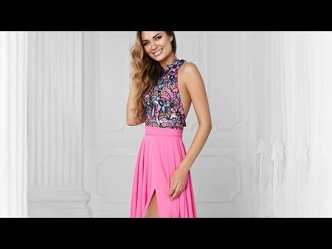 Красивое платье с открытой спиной и юбкой с разрезом