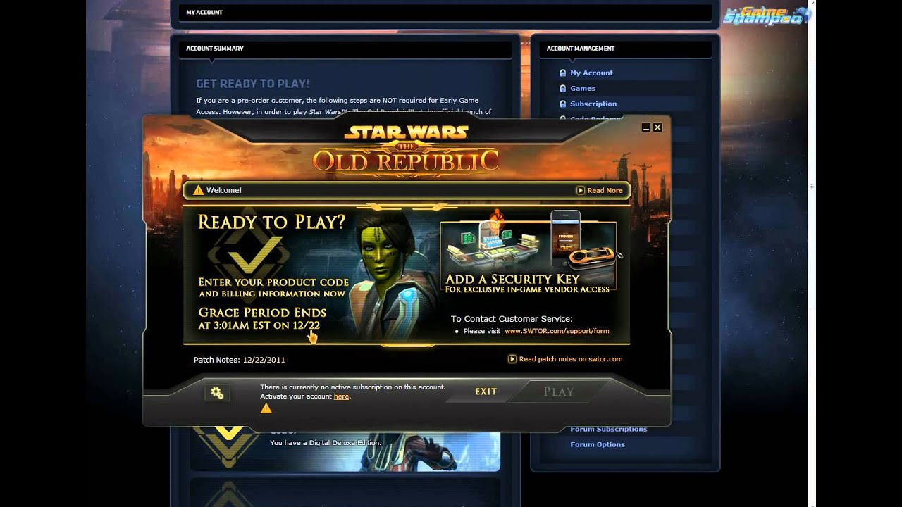 There is currently no active subscription on this account (SWTOR