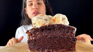 MOIST CHOCOLATE CAKE WITH ICE CREAM | ASMR | MUKBANG | EATING SOUNDS