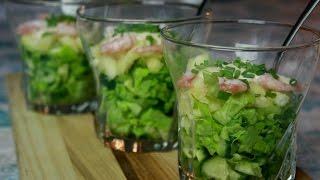 Подготовка к празднику.Салат-коктейль с креветками и ананасом.Легкий,вкусный.