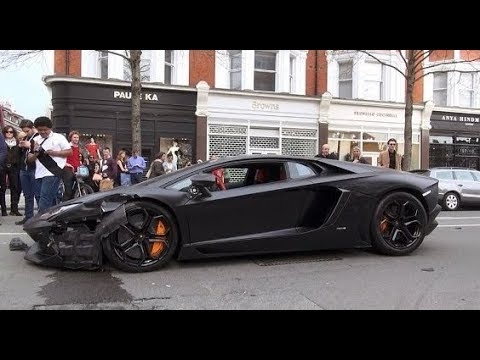 cristiano ronaldo crash lamborghini aventador in london youtube. Black Bedroom Furniture Sets. Home Design Ideas