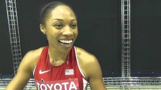 Allyson Felix talks to SPIKES in Moscow after qualifying for the 200m final