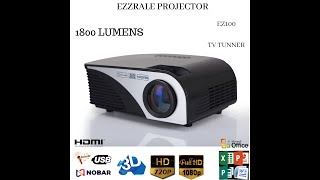Mini Led Projector EZ100 Tv Tunner Version 1800 Lumens Indonesia Nobar / Presentasi