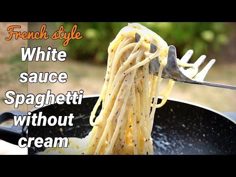 Spaghetti Recipe   White Sauce spaghetti recipe   White sauce pasta without cream