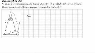 W trójkącie równoramiennym ABC dane są AC=BC=6 i ∢ACB=30° zobacz rysunek  Oblicz wysokość AD trójkąt