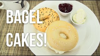 How to Make A BAGEL AND CREAM CHEESE out of CAKE! Vanilla cake bagels and buttercream filling!