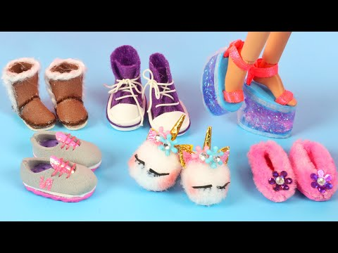 6 DIY BARBIE SHOES CRAFTS ~ Unicorn, New Balance, Slime High Heels, Converse Boots, Slippers, UGG