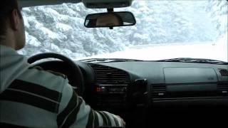 Snow drift BMW E36 uphill long (Rogla)