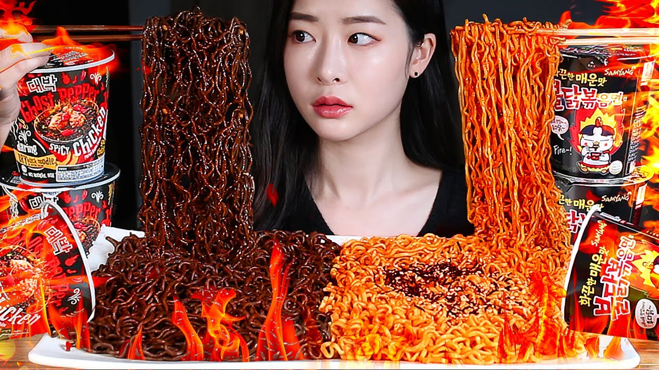 ASMR 🔥GHOST PEPPER NOODLES CHALLENGE! THE SPICIEST CUP NOODLES IN THE WORLD 🌶 WITH FIRE NOODLES!