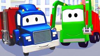Carl el Camión Transformador y el Camión de basura en Auto City | Dibujos animados para niños