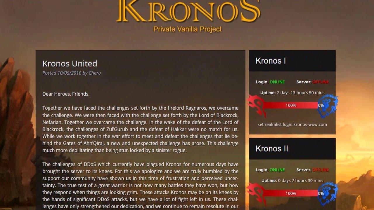 Kronos wow DDOS