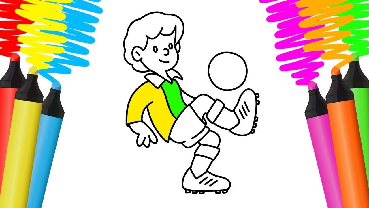 Como Desenhar E Colorir Jogador De Futebol Pintar E Aprender Para Crianças