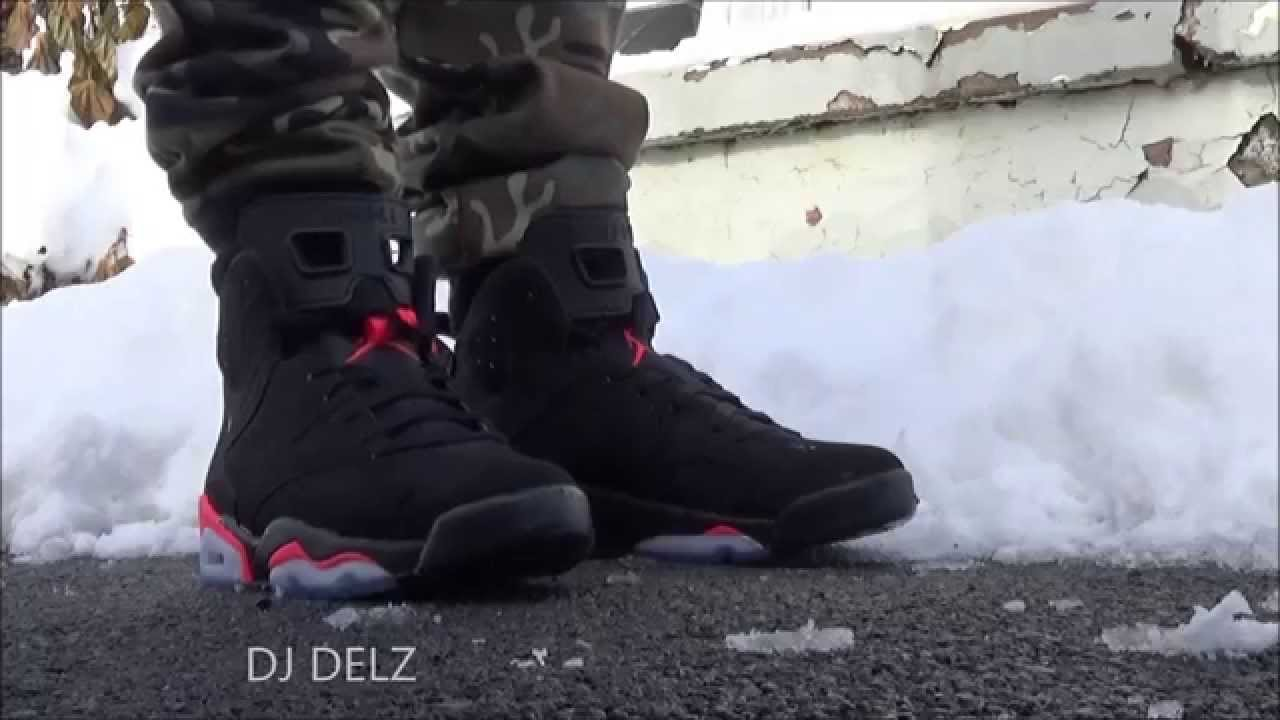 d7035a6ca75e ... sale air jordan black infrared 6 vi sneaker on feet with djdelz sizing  youtube 423d1 9e6ee