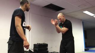 Fighting with Limitations, hands zip tied. With Amnon Darsa at Institute Krav Maga Netherlands.