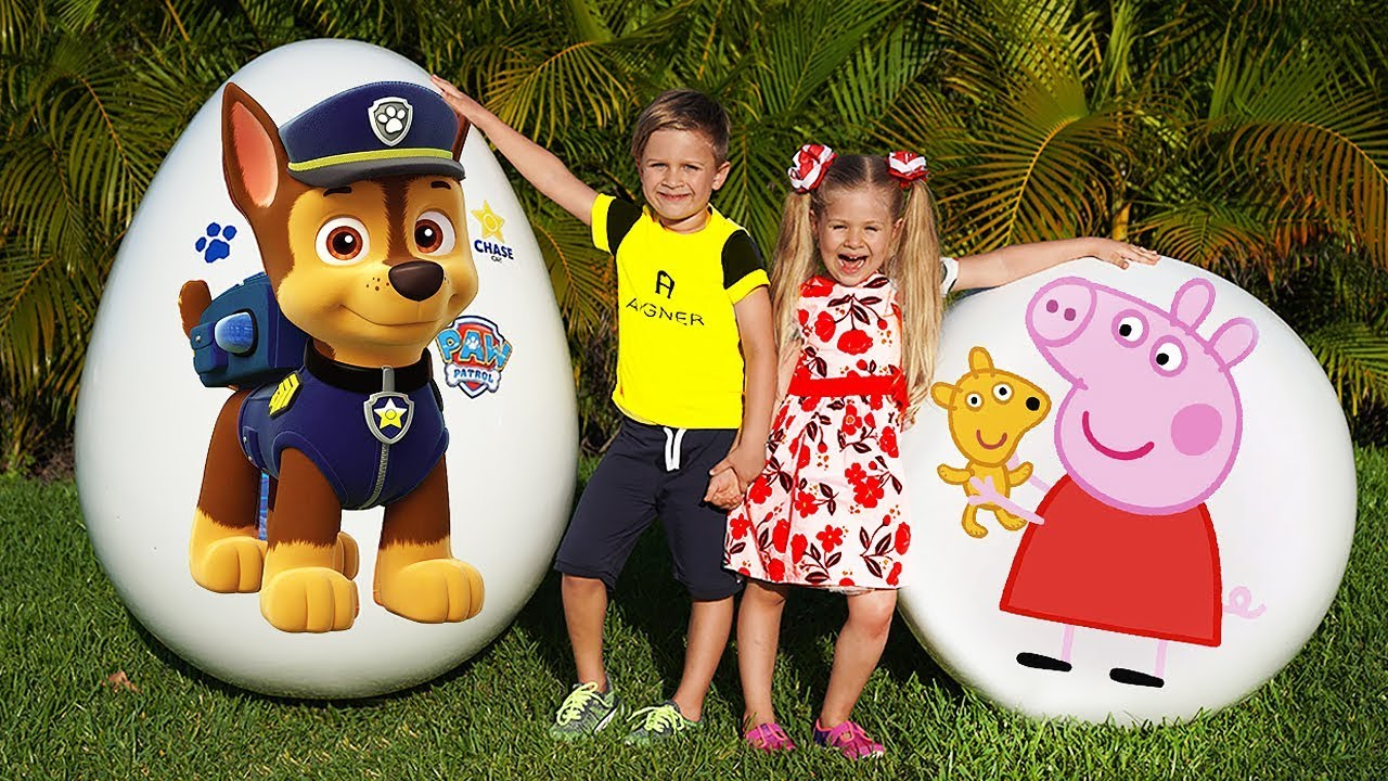 Download Diana and Roma play with Giant Surprise eggs