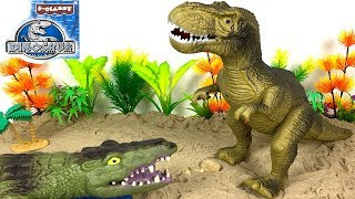 UNBOXING INTERACTIVE DINOSAUR  AND CROCODILE VS T-REX MAMA - STORY