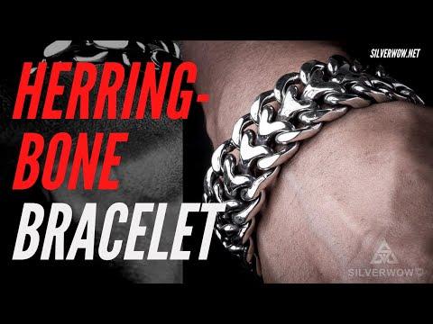 Mens unique Silver Bracelet - 25mm Herringbone Design Links. 6.8 -7 oz