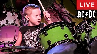 Dirty Deeds Done Dirt Cheap - LIVE - Song Cover - 7 year old Drummer - Avery Drummer Molek