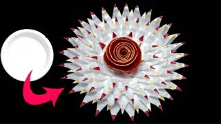 DIY How To Make Flower From Waste Thermocol Plate for wall decor/home decor|flower making craft idea