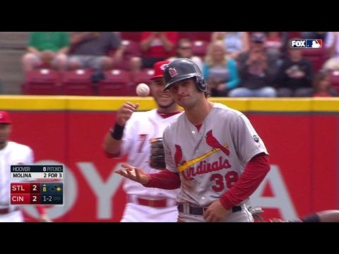 STL@CIN: Cabrera catches Kozma stealing second