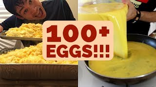 100+ Scrambled Eggs!! Matt Stonie Food Challenge x2!!