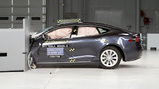 2017 Tesla Model S driver-side small overlap IIHS crash test