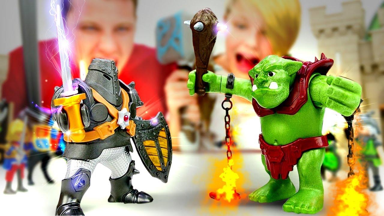 Игры для мальчиков - Рыцарь или Тролль? Битва замков Плеймобиле! – Видео обзор конструктора.
