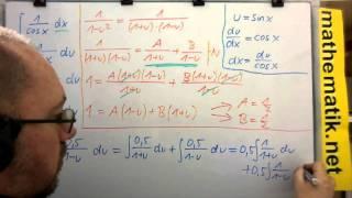 Gambar cover ∫1/cosx dx ► Methode 1 ► Substitution u=sinx und Partialbruchzerlegung