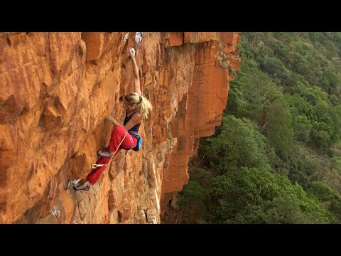 Katy Whittaker climbing Snapdragon (29), Waterval Boven, South Africa