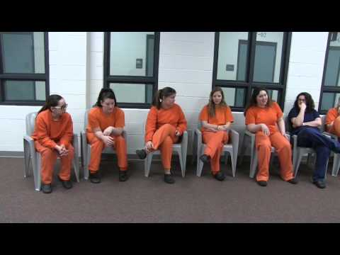 Jim Rubens interviews inmates at Cheshire County Jail
