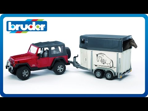 Bruder Toys Jeep Wrangler Unlimited W Horse Trailer 1 Tan 02921 You
