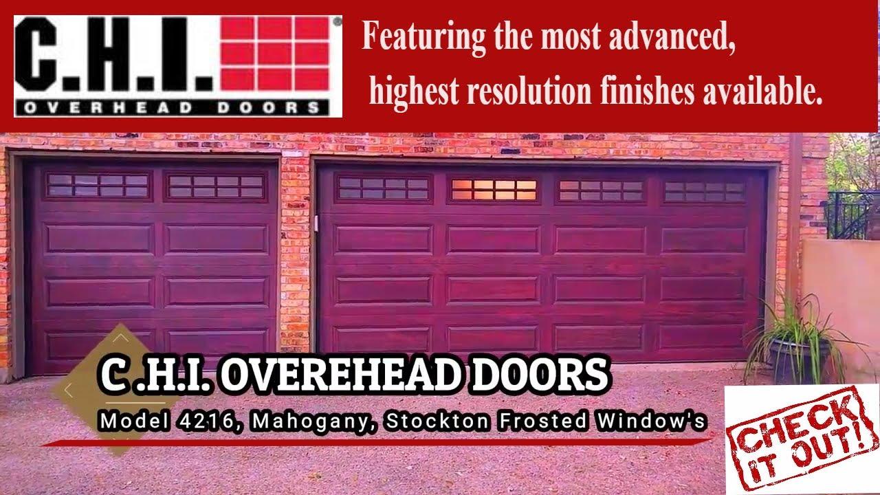 Stylish Garage Door | C.H.I Model 4216 Mahogany | Frosted Stockton WIndows