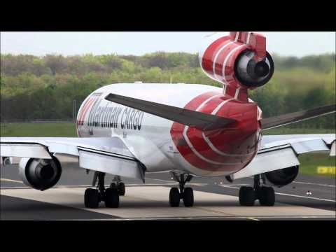 Thunderstorm Diversion. Martinair Cargo MD-11 rocket departure from Düsseldorf