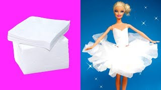 DIY Ballerina Paper Tutu Dress for Barbie Dolls   Making Easy Clothes for Barbies Creative for Kids