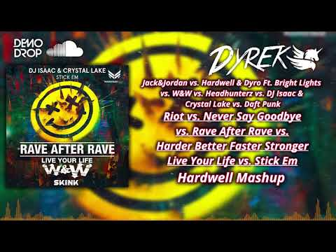 Riot Vs Never Say Goodbye Vs Rave After Rave Vs HBFS Vs Live Your Life (Hardwell Mashup)