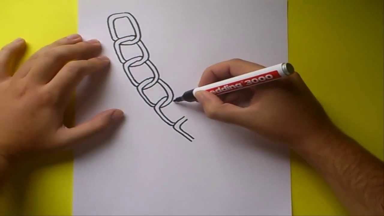 Como dibujar una cadena paso a paso  How to draw a chain  YouTube