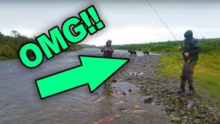 Fishing For GIANT TROUT With GRIZZLY Bears All Around US!!