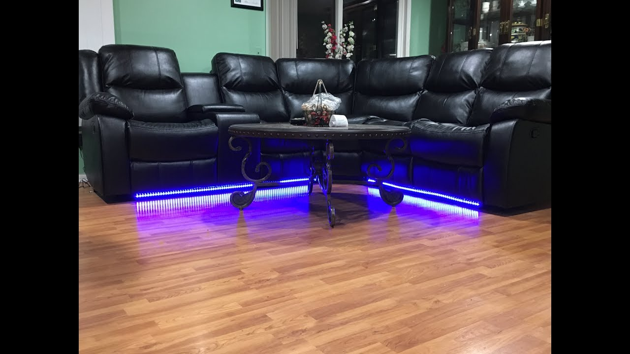 led strip lighting under sofa youtube. Black Bedroom Furniture Sets. Home Design Ideas