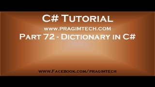 Part 72   What is dictionary in c#
