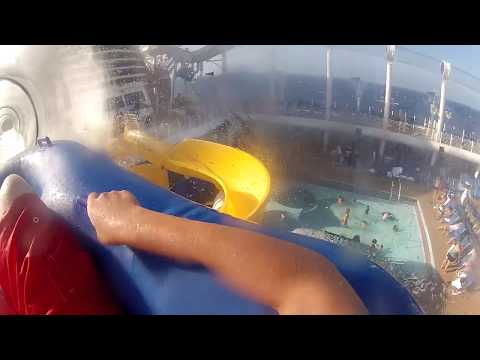 disney cruise line the aquaduck (waterslide) with onboard camera
