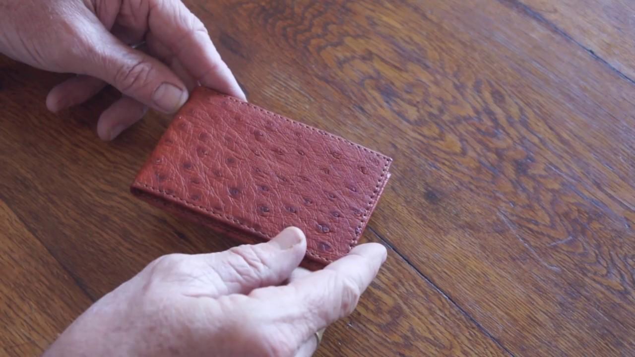 DOUBLE SIDE Handmade Genuine OSTRICH Leather Skin MEN/'S BIFOLD WALLET